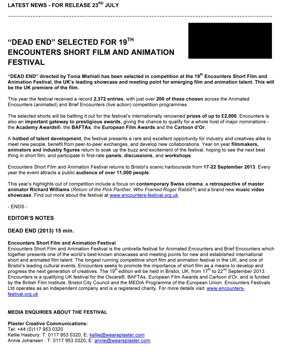 Microsoft Word - FILMMAKER_PRESS_DEAD END.doc
